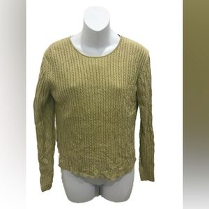 Ann Taylor Pea Green Long Sleeve Silk Sweater